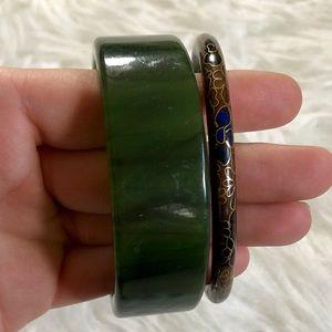 Set of two Vintage bangle bracelets enamel plastic